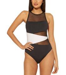 bleu by rod beattie colorblocked mesh-panel one-piece swimsuit women's swimsuit