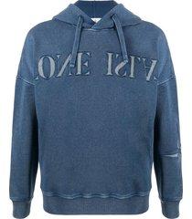 stone island embroidered logo hoodie - blue