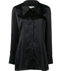 -kant trimmed silk-satin blouse
