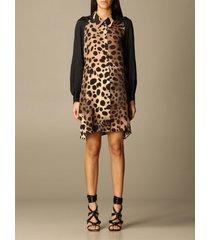 just cavalli dress just cavalli shirt dress with animalier pattern