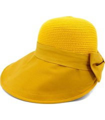back bowknot wide brim basin straw hat