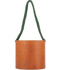 0711 bali oval bucket shoulder bag - brown