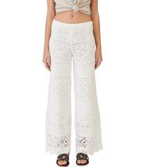 women's maje pantelle open stitch wide leg crochet pants, size 8 us - white