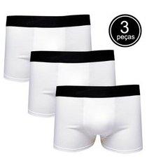 kit com 3 cuecas boxer cotton confort part.b branca