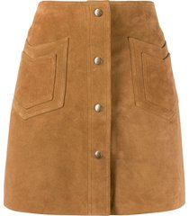 saint laurent western detail a-line skirt - brown