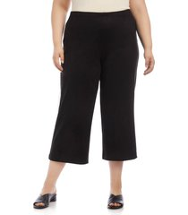 plus size women's karen kane brooklyn faux suede crop pants
