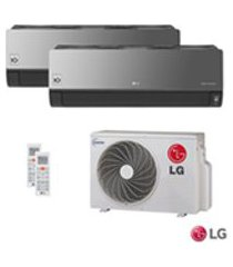 ar condicionado multi split artcool inverter lg com 1 x 8.500 btus + 1 x 11.900 btus, quente e frio, turbo, espelhado