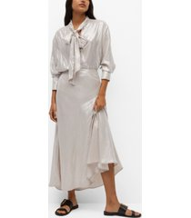 mango women's bow satin blouse