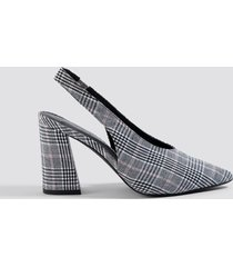 na-kd shoes checked back strap pumps - grey