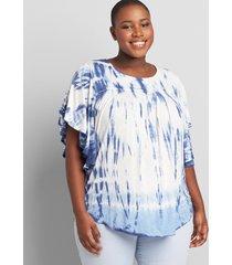 lane bryant women's tie-dye flutter top 34/36 blue tie dye