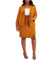 le suit plus size collar-less crepe skirt suit