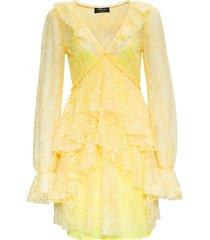 blumarine yellow lace dress with ruffles detail