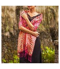batik silk shawl, 'kawung plains in fuchsia' (indonesia)