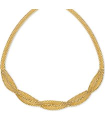 """braided wheat link 17"""" collar necklace in 10k gold"""