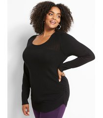 lane bryant women's ruched-side sweater - pointelle 26/28 black