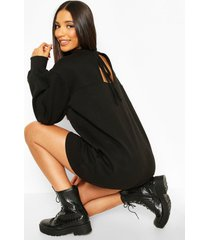 balloon sleeve open back sweatshirt dress, black