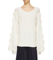scalloped sleeve oversized organic cotton-wool sweater