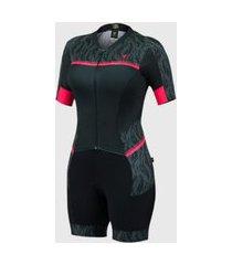 macaquinho free force ciclismo feminino new hide preto coral