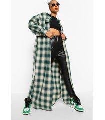 lange geruite oversized tussenjas met ceintuur, groen