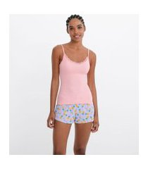 pijama alcinha decote com renda com short estampa abacaxi e malancia   lov   multicores   g