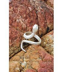 wąż biały - pierścionek srebrny