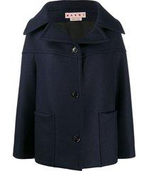 marni oversized wide-collar jacket - blue