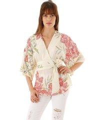blusa aha kimono estampa floral tomate bege