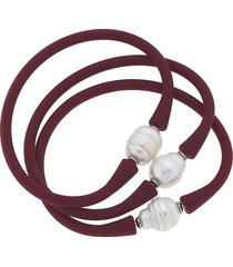 women's canvas jewelry set of 3 bali freshwater pearl silicone bracelets