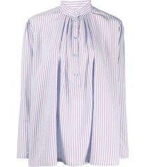 alberta ferretti striped poplin shirt - blue