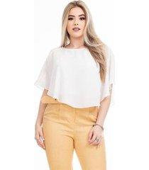 blusa clara arruda manga assimetrica lisa 20581 feminina