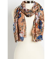 maurices womens gold floral oblong scarf