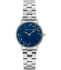 bcbgmaxazria ladies blue dial round stainless steel bracelet watch, 32mm