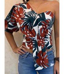 tropical one blusa de media manga con hombros descubiertos