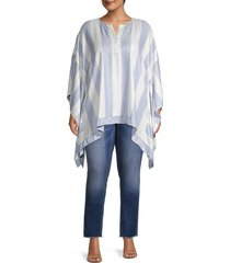 karen kane women's plus striped split neck top - size 1x (14-16)