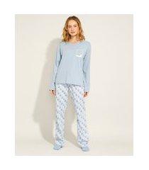pijama de algodão manga longa pantone azul