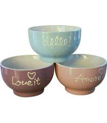 conjunto bowl love it , hello , amore com 3 tigelas kasa ideia - multicolorido - dafiti