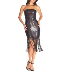 women's dress the population jeanette sequin strapless dress, size small - black