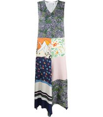 see by chloé summer patchwork asymmetrical dress - green