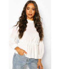 floral frill detail peplum top, ivory