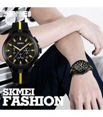 reloj de cuarzo calendario multifuncional-amarillo