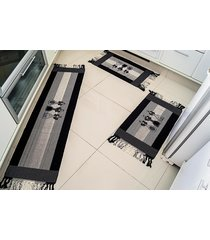 jogo de tapete cozinha biju preto talher com 3 peças - valle enxovais