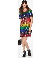 mk abito t-shirt in jersey di cotone con paillettes arcobaleno - arcobaleno (bianco) - michael kors