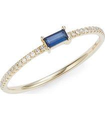 saks fifth avenue women's 14k yellow gold, blue topaz & diamond ring - size 7