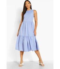 tall gesmokte geweven midi jurk met laagjes, indigo