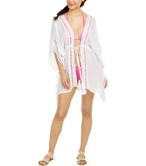 raviya crochet-trim tie-front kimono cover-up women's swimsuit