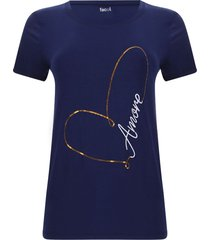 camiseta lentejuelas amore color azul, talla m