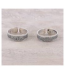 sterling silver toe rings, 'curvy charm' (india)