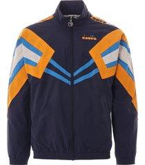 diadora mvb track jacket   blue nights and orange zinnia   173618-3194