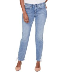 nydj sheri lace-up frayed-hem ankle jeans