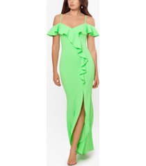 betsy & adam off-the-shoulder ruffled gown